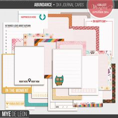 Abundance 3x4 Journal Cards by Mye De Leon. A set of 3×4 journal cards that is perfect for digital project life and digital scrapbooking.