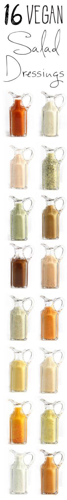 16 Vegan Salad Dressings!! All the classics made vegan, plus a few more great ideas #vegan