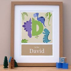 D is for dinosaur nursery print from £18. See the collection on www.doodlebump.com/shop