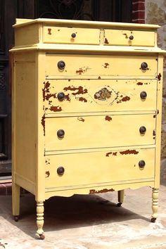 Items similar to Shabby Chic Soft Yellow Painted Dresser on Etsy Shabby Chic Interiors, Shabby Chic Homes, Shabby Chic Furniture, Shabby Chic Decor, Painted Furniture, Yellow Painted Dressers, Yellow Drawers, Painted Drawers, Shabby Chic Background
