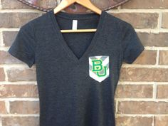 BU Baylor Bears Green and Gold Game Day Pocket Tee by MonogramCafe on Etsy, $25.00