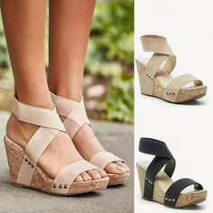 596d26b3e Retro Women Round head Wedges Flats Elastic Band Thick Bottom Sandals  Slippers  fashion  clothing