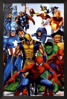 Marvel Heroes Framed Art Poster - Incredible bedroom, play room, and nursery decor for boys and girls rooms at Kids Decorating Ideas Marvel Comic Character, Comic Book Characters, Comic Book Heroes, Marvel Characters, Comic Books Art, Comic Art, Marvel Comics, Marvel Art, Marvel Heroes