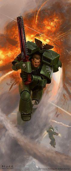 """haaaaaaaaave-you-met-ted: """"Warhammer 40K Dark Angel Assault Marine by JakeMurray """""""