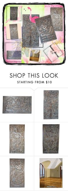"""""""Antique Carved Yoga Wall Panel"""" by era-chandok ❤ liked on Polyvore featuring Polaroid, Post-It, sale, walldecor, offer, wallhanging and wallpanel"""