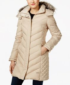 Kenneth Cole Faux-Fur-Trim Down Chevron Puffer Coat - Coats - Women - Macy's