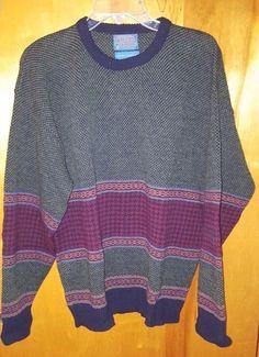 Pendleton Pure Virgin Wool Multi Color Striped Woven Men's Crewneck Sweater L #Pendleton #Crewneck