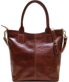 leather tote bag floto ischia brown