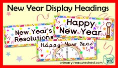 A great selection of New Year printables to download for the Foundation Phase - Early Years -  KS1 - kindergarten - Pre-School Color Activities, Teaching Activities, Craft Activities, Teaching Resources, Teaching Ideas, New Years Hat, New Year Printables, Display Banners, New Year Celebration