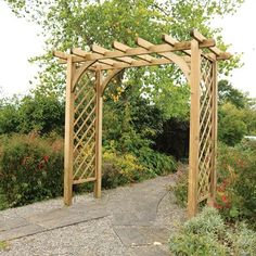 With a gazebo style roof and diamond lattice sides, the Horizon Large Arch is solidly made from top quality timber and will add decorative height and impressive structural interest to your garden. Garden Arch Trellis, Garden Arches, Garden Arbor, Garden Gates, Small Garden Arch, Wood Trellis, Garden Entrance, Gravel Garden, Garden Buildings