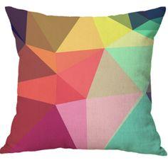 Colorful Geometric Design Cotton With Linen Office Car Design Backrest Pillow Cover