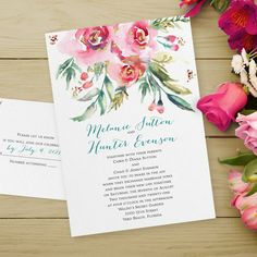 Pink watercolor flowers can add an abundance of beauty to your wedding invitations. The flowers frame your wording elegantly.