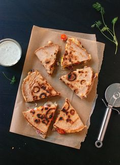 Tomato, olive and chickpea quesadilla with dill yogurt dip  - cookieandkate.com