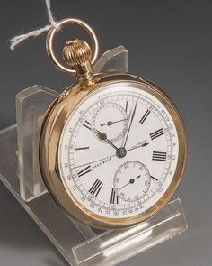 Herrentaschenuhr, John Boyd Glasgow, 1890, Chronometer/Tachymeter, Goldgehäuse 750/000,Ziffernblatt — Uhren