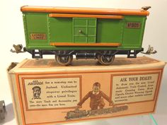 LIONEL 805 BOXCAR GREEN ORANGE EARLY OB PREWAR O #X5210 #Lionel