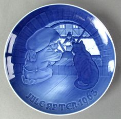 1963 Bing & Grondahl Christmas Elf Plate Julegroden Delft Blue Made in Denmark #BingGrondahl #1964 #ChristmasElf