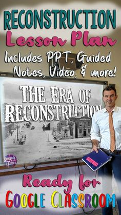 This awesome activity set for teaching Reconstruction in your US History classroom includes a PPT, guided notes worksheets, video lesson, Google Slides, and more! Everything you need for an engaging hands on lesson to learn about this important era in american History! Civil War Activities, History Activities, Teaching Activities, Study History, Us History, American History, Powerful Pictures, Powerpoint Lesson, History Classroom