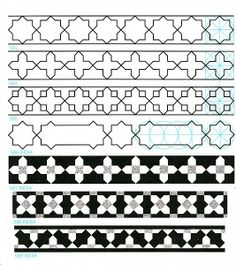 Pattern in Islamic Art - GP-B 070 Examples of patterns to share with students -added Geometric Pattern Design, Geometry Pattern, Geometric Designs, Geometric Shapes, Calligraphy Borders, Islamic Art Calligraphy, Pattern Drawing, Pattern Art, Textile Patterns