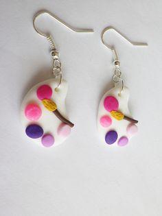 boucle fimo originale palette de peinture et pinceau rose violet fluo framboise rentrée des classes : Boucles d'oreille par fimo-relie