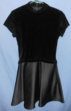 """TADASHI Trendy Stylish """"Little Black Dress"""" Velvet Satin Evening Formal Gown 14 #Tadashi #BallGown #Formal ~ Honestly, I pretty sure that someone CUT OFF the skirt, because this should be a floor length gown, not s mini shirt dress"""