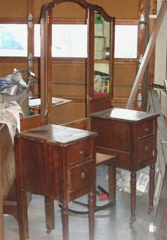 Convert an old-fashioned vanity into two nightstands