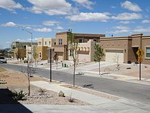 Santa Fe, New Mexico - homes are territorial or pueblo style and stuccoes with flat roofs