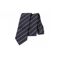 Armani Collezioni Stripe Men's Silk Tie, Black