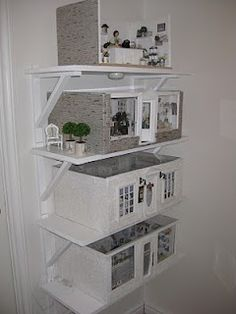 *** Ideas to try, not my pic/tutorial***. storing room dollhouse boxes