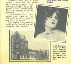 A photograph of Mae West along with a picture of the reformatory she was sent to in 1927.