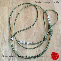 Showleine aus Nappa-Leder in Olive -metallic