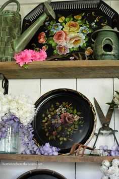 In the Potting Shed: Blooming Tole Trays and Flowers | homeiswheretheboatis.net #garden #spring