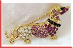 Dachshund Lady Girl Fashion Art Jewelry Crystal Broach Brooch Pin Dachshund USA
