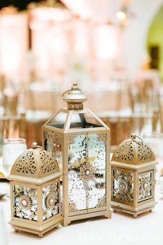 Oakland, CA Pakistani Wedding by U Me Us Studios Wedding Decor Gold Lanterns, Lantern Centerpieces, Wedding Lanterns, Wedding Centerpieces, Table Lanterns, Gift Table Wedding, Rustic Wedding, Wedding Gifts, Trendy Wedding