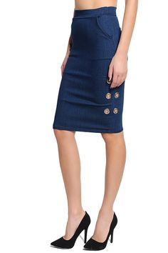 TheMogan Women's Washed Short Jean Knee Length Midi Pencil Denim Skirt ** Click image to review more details.