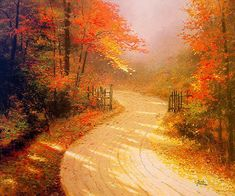 fall scenes | Autumn Lane by Thomas Kinkade 20x24 Artist Proof A/P Limited Edition ...