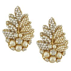 Miriam Haskell Pearl Crystal Leaf Earrings | What's New | SOPHIE'S CLOSET®