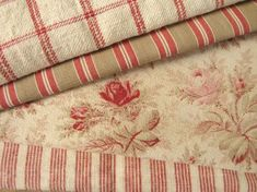 Lovely coordinating Vintage European fabrics ~ ideal for many projects to create that authentic French Country interior ~ www.textiletrunk.com
