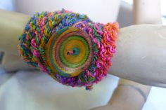 HANDMADE STATEMENT BRACELATE CROCHET MULTI COLOR WOOL NO METALWOOD  PAINTED BUT #HANDMADEBYRIVKAFILIN #Statement