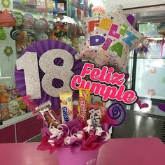 Diy Birthday Box, Birthday Bouquet, Birthday Candy, Birthday Gifts, Candy Bouquet, Balloon Bouquet, Diy And Crafts, Crafts For Kids, Pastel Party