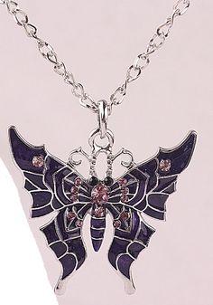 Austrlian crystal wicked butterfly necklace purple