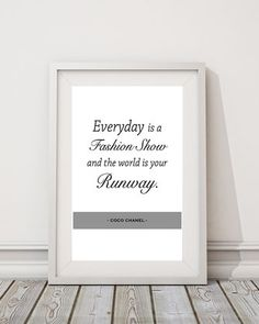 """Kunstdruck Coco Chanel Zitat """"Runway"""" 11,90 € bei www.belleart.de Inspirational gallery wall gift idea"""