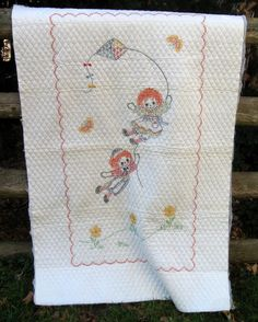 Raggedy Ann And Andy Quilt Unfinished Stamped by NormasTreasures