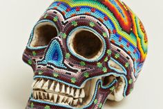 Huichol Skulls by Our Exquisite Corpse Crane, Skull Anatomy, Exquisite Corpse, Mexico Art, Skull Artwork, Retail Concepts, Mexican Skulls, Beaded Skull, Human Skull
