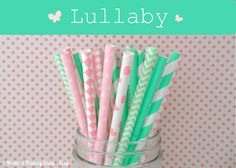 Mint & Pink Paper Straws Mixed Lullaby Pack by PopUpPartiesShop