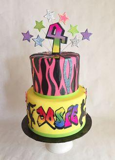 Birthday cake | dance party | hip hop | zebra | fondant | animal print | silhouettes | stars | graffiti