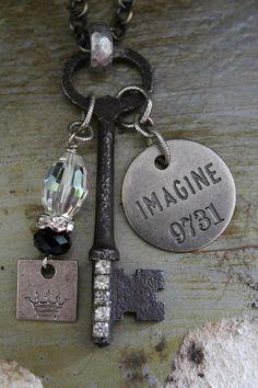 IMAGINE Vintage Key Necklace by BelleVia on Etsy, $34.00