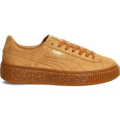 Puma Suede platform trainers ($85) ❤ liked on Polyvore featuring shoes, sneakers, suede sneakers, puma sneakers, lace up shoes, platform shoes and round cap