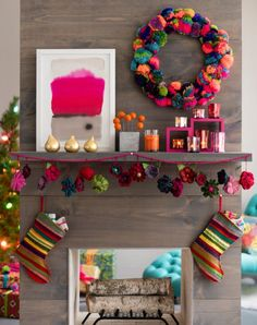 fun boho christmas decor, with tutorial for pompom wreath