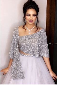 Snow White Look Indo-Western Lehenga Set Sequin Prom Dresses, Prom Dresses Two Piece, Party Wear Dresses, Bridal Dresses, Indian Designer Outfits, Designer Dresses, Evening Gowns With Sleeves, Robes D'occasion, Cheap Formal Dresses