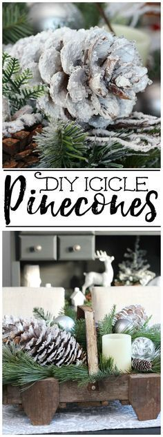 All you need is a few supplies and 10 minutes to create these pretty snowy pinecones. All you need is a few supplies and 10 minutes to create these pretty snowy pinecones. Christmas Balls Diy, Rustic Christmas, Christmas Projects, Winter Christmas, Christmas Holidays, Christmas Wreaths, Christmas Ornaments, Christmas Greenery, Christmas Carol
